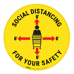 Social Distancing for your Safety - Compass - Floor Sign