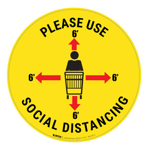 Please Use Social Distancing - Floor Sign