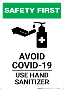 Safety First: Avoid COVID-19 - Use Hand Sanitizer with Icon Portrait - Wall Sign