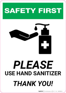 Safety First: Please Use Hand Sanitizer - Thank you with Icon Portrait - Wall Sign