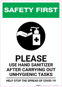 Safety First: Please Use Hand Sanitizer after Unhygienic Tasks with Icon Portrait - Wall Sign