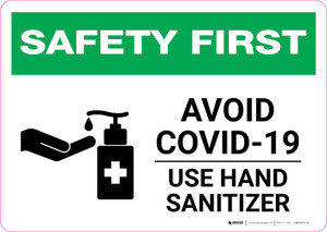 Safety First: Avoid COVID-19 - Use Hand Sanitizer with Icon Landscape - Wall Sign