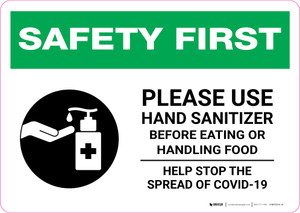 Safety First: Please Use Hand Sanitizer - Before Eating or Handling Food with Icon Landscape - Wall Sign