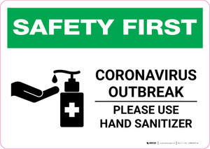 Safety First: Coronavirus Outbreak - Please Use Hand Sanitizer with Icon Landscape - Wall Sign