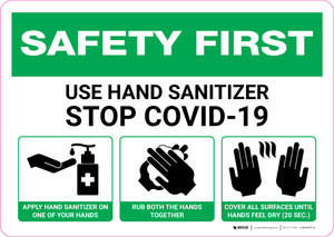 Safety First: Use Hand Sanitizer with 3-Step Icon Instructions Landscape - Wall Sign