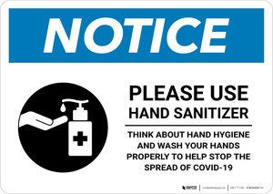 Notice: Please Use Hand Sanitizer - Think About Hand Hygiene Landscape - Wall Sign