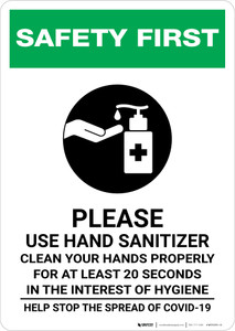 Safety First: Please Use Hand Sanitizer - Clean Your Hands Properly Portrait - Wall Sign