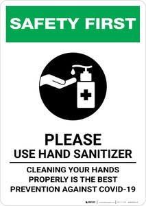 Safety First: Cleaning Your Hands Properly is the Best Prevention Against Covid-19 Portrait - Wall Sign