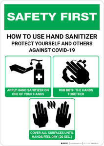 Safety First: How To Use Hand Sanitizer Portrait - Wall Sign
