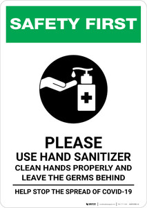 Safety First: Please Use Hand Sanitizer and Leave Germs Behind Portrait - Wall Sign