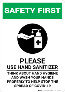 Safety First: Please Use Hand Sanitizer and Think About Hand Hygiene Portrait - Wall Sign