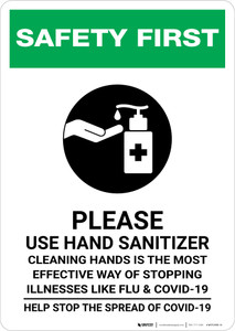 Safety First: Cleaning Hands is the Most Effective Way of Stopping Illnesses Portrait - Wall Sign