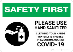Safety First: Cleaning Your Hands Properly is The Best Prevention Against Covid-19 Landscape - Wall Sign