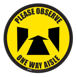 Please Observe - Perspective-Aisle - Yellow - Floor Sign