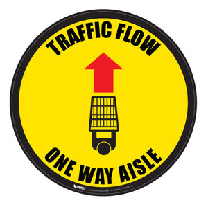 Traffic Flow - Overhead-Aisle - Yellow - Floor Sign