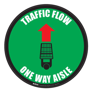 Traffic Flow - Overhead-Aisle - Green - Floor Sign