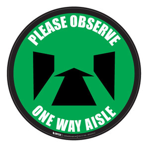 Please Observe - Perspective-Aisle - Green - Floor Sign
