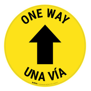 One Way - Arrow - Yellow - Bilingual - Floor Sign