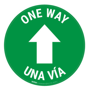One Way - Arrow - Green - Bilingual - Floor Sign