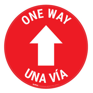 One Way - Arrow - Red - Bilingual - Floor Sign
