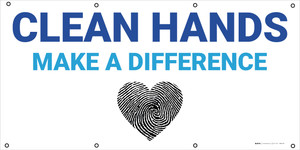 Clean Hands Make A Difference - Fingerprint Heart - Banner
