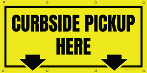 Curbside Pickup Here - Yellow/Black with Arrows - Banner