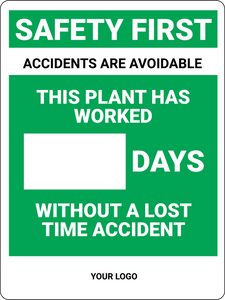 Days Without Accident (Logo Below) - Wall Sign