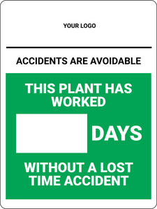 Days Without Accident (Logo Above) - Wall Sign