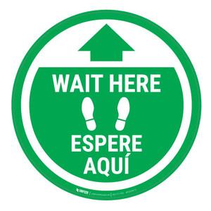 Wait Here - Green Circle - Bilingual - Floor Sign