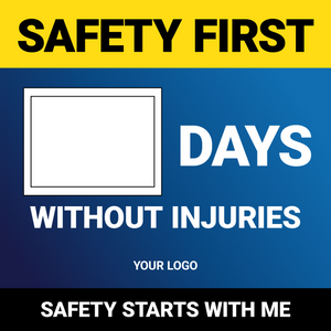 Days Without Injuries (Blue/Yellow)- Wall Sign