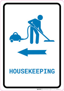 Housekeeping Left Arrow with Icon Portrait v2 - Wall Sign