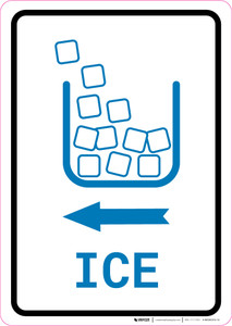 Ice Left Arrow with Icon Portrait v2 - Wall Sign