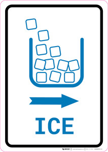 Ice Right Arrow with Icon Portrait v2 - Wall Sign