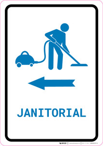 Janitorial Left Arrow with Icon Portrait v2 - Wall Sign