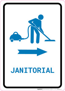 Janitorial Right Arrow with Icon Portrait v2 - Wall Sign