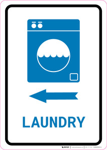 Laundry Left Arrow with Icon Portrait v2 - Wall Sign