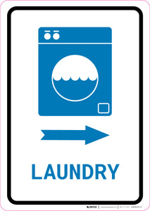 Laundry Right Arrow with Icon Portrait v2 - Wall Sign