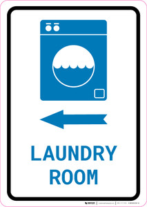 Laundry Room Left Arrow with Icon Portrait v2 - Wall Sign