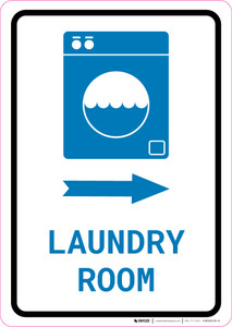 Laundry Room Right Arrow with Icon Portrait v2 - Wall Sign