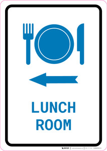 Lunch Room Left Arrow with Icon Portrait v2 - Wall Sign