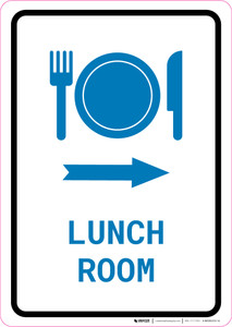 Lunch Room Right Arrow with Icon Portrait v2 - Wall Sign