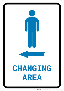 Mens Changing Area Left Arrow with Icon Portrait v2 - Wall Sign