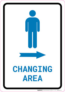 Mens Changing Area Right Arrow with Icon Portrait v2 - Wall Sign