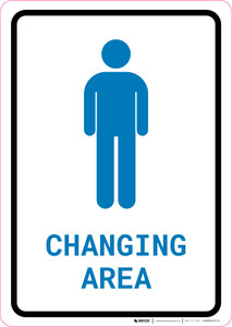 Mens Changing Area with Icon Portrait v2 - Wall Sign