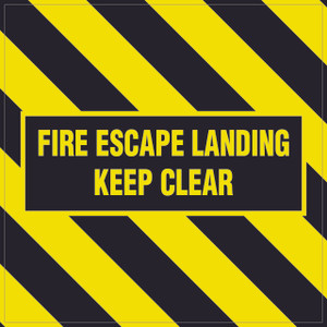 Fire Escape Landing Keep Clear - Floor Sign
