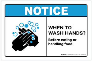Notice: Wash Hands Before Handling Food ANSI Landscape - Label
