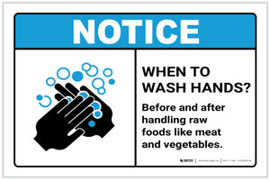 Notice: Wash Hands Before Handling Raw Foods ANSI Landscape - Label