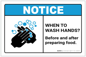 Notice: Wash Hands Before Preparing Food ANSI Landscape - Label