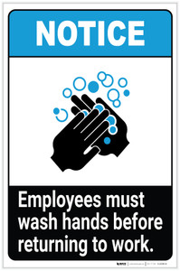 Notice: Employees Must Wash Hands Before Work ANSI Portrait  - Label