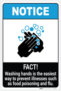 Notice: FACT Washing Hands Prevents Illnesses ANSI Portrait - Label